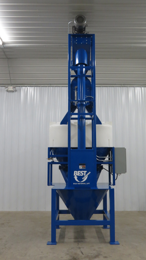The Bulk Material Lift testing unit sits directly beside the conference center.  It is available for potential customers to test their own product and see it work person.